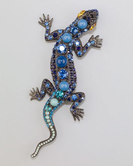 Salamander Brooch, Blue