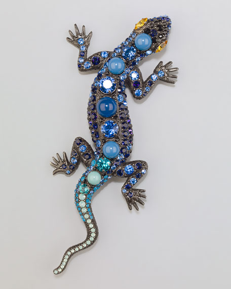 Salamander Brooch, Blue