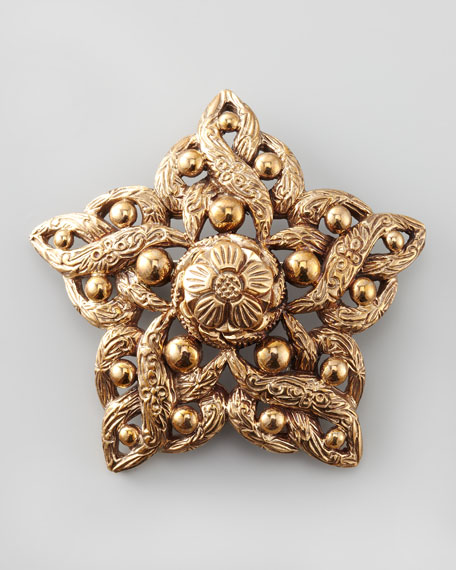 Bead-Detailed Star Brooch, Bronze