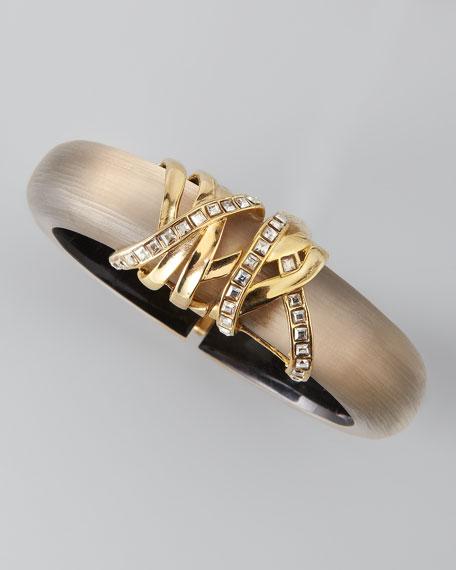 Golden Ribbon-End Lucite Bracelet