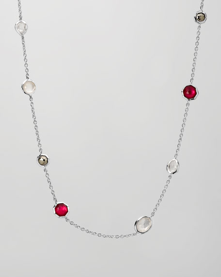 "Multi-Stone Station Necklace, 18""L"