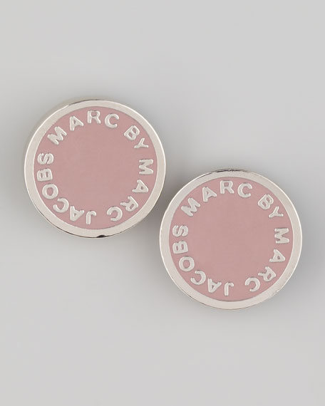 Enamel Logo Stud Earrings, Blush