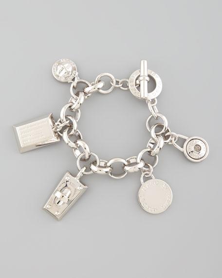 Logo Charm Bracelet, Silvertone