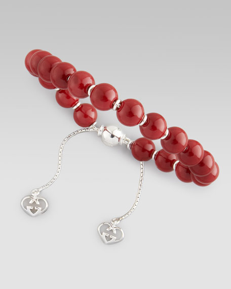 Varnished Wood-Bead Bracelet, Red