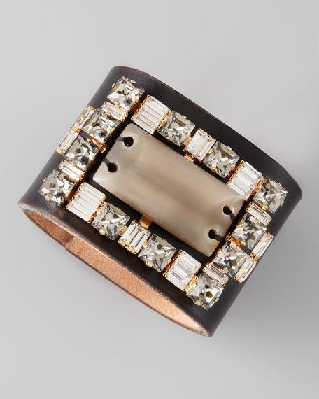 Rhinestone Leather Bracelet, Savannah