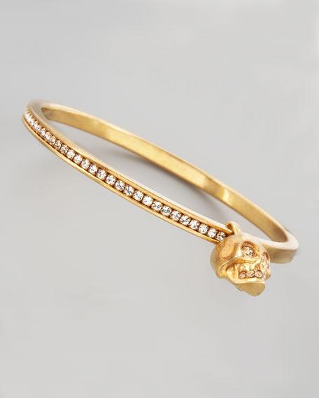 Pave Crystal Skull-Charm Bangle, Gold