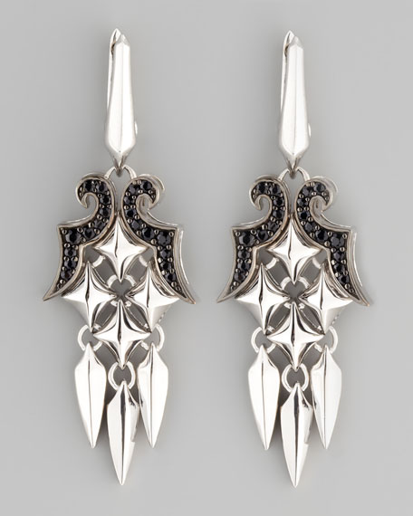 Small Pave Black Sapphire Dagger Earrings