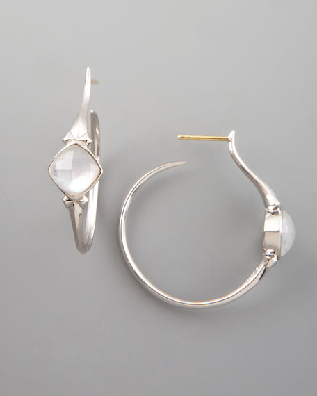 Crystal Superstud Hoop Earrings, Small