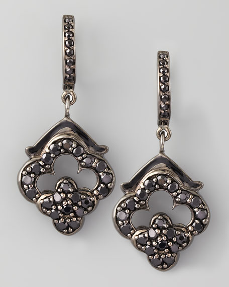 Retro Black Spinel Earrings