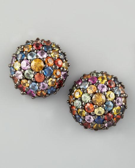 Pave Sapphire Stud Earrings