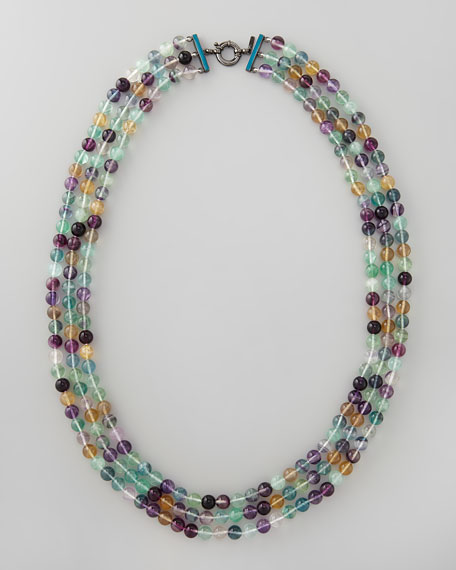 "Beaded Triple-Strand Necklace, 34""L"
