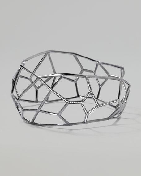Wicked Pave Diamond Angular Frame Bangle