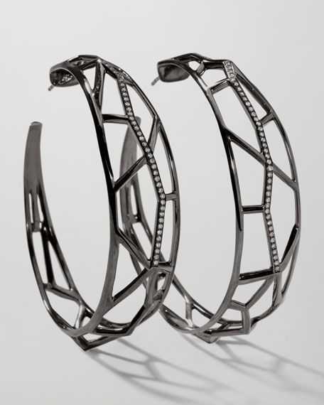Wicked Pave Diamond Hoop Earrings