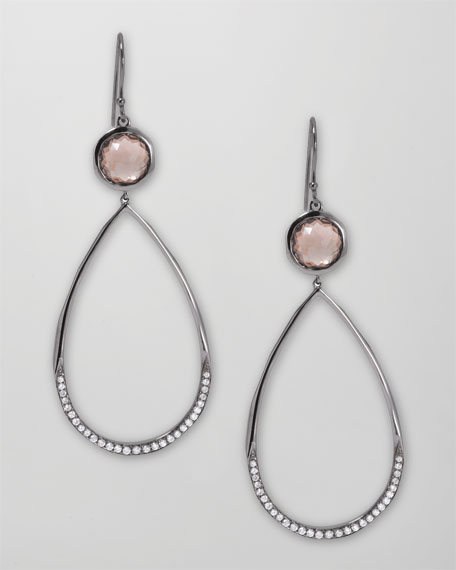 Pave Diamond Teardrop Earrings, Smoky Quartz