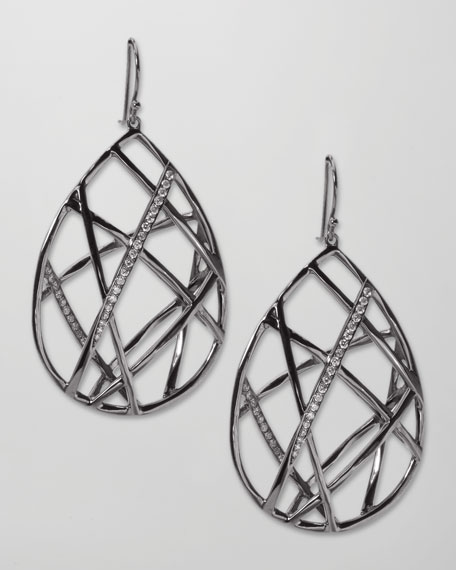 Pave Diamond Geometric Teardrop Earrings