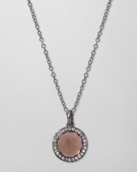 Mini Lollipop Pendant Necklace, Smoky Quartz