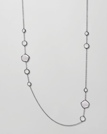 "Clear Quartz Station Necklace, 36""L"