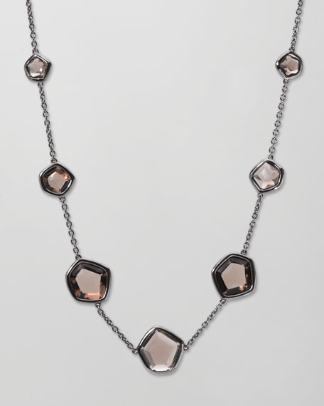 "Rock Candy Smoky Quartz Station Necklace, 18""L"