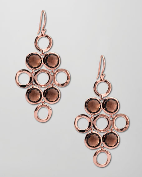 Smoky Quartz Rose Cascade Earrings