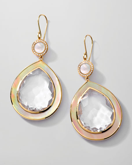 Ondine Quartz/Shell Teardrop Earrings