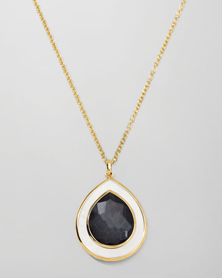 Ondine Teardrop Pendant Necklace, Hematite
