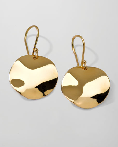 Yellow Gold Wavy Disc Earrings
