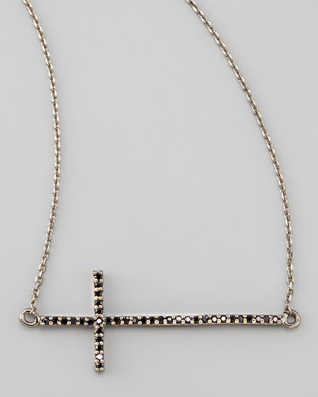Gunmetal Pave Cross Necklace, Black