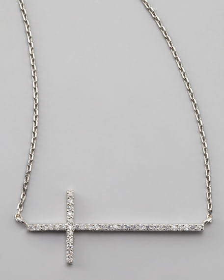 Silver Pave Cross Necklace, White
