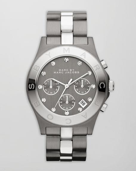 Blade Two-Tone Watch, Stainless Steel/Gunmetal