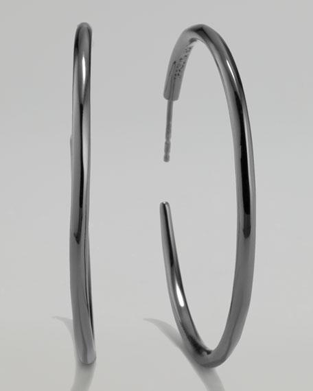 Black Silver Squiggle Hoop Earrings