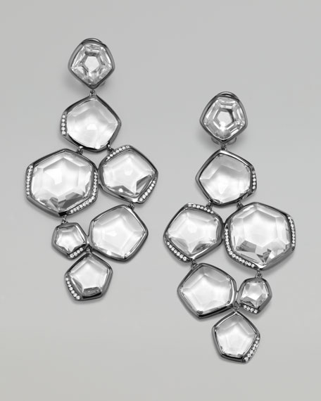 Clear Quartz & Diamond Cascade Earrings