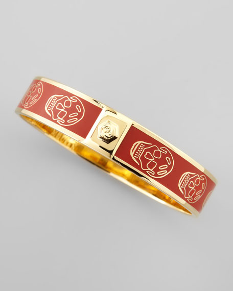 Small Enamel Skull Bangle, Red