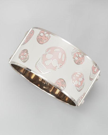 Large Enamel Skull Bangle, White/Pink