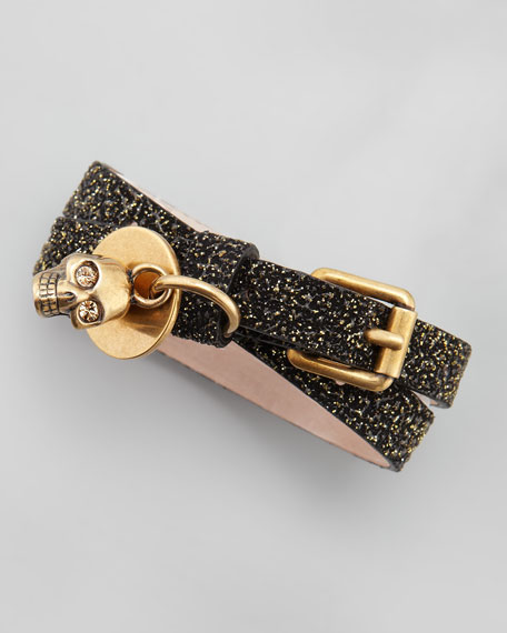Glitter Double-Wrap Bracelet, Black/Gold