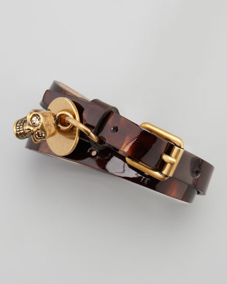Tortoise Patent Leather Double-Wrap Bracelet