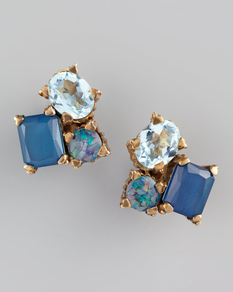 Multi-Stone Mosaic Clip Earrings