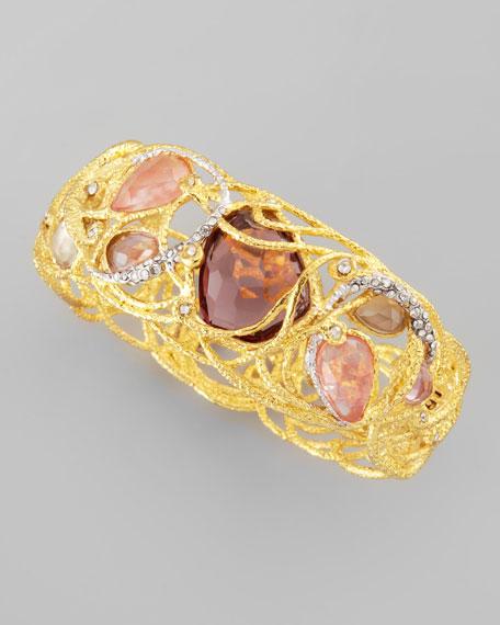 Floral Lace Crystal Bracelet, Gold/Pink