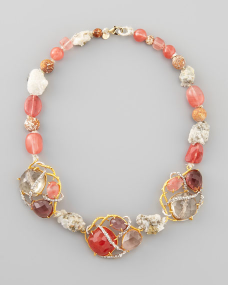 Floral Cherry Quartz Vine Necklace