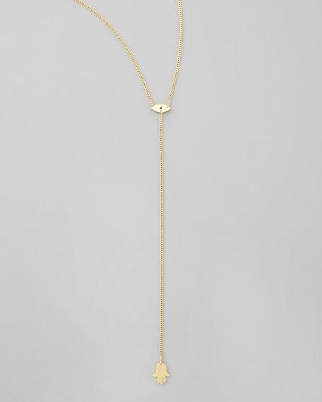 Evil Eye & Hamsa Lariat Necklace