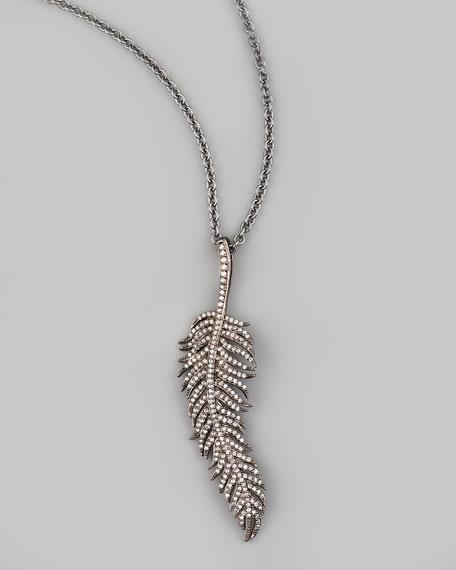 """Feather Pendant Necklace, 30""""L"""