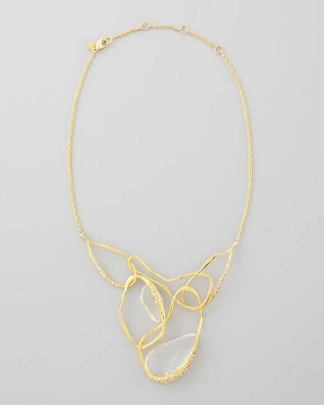 Ophelia Vine Bib Necklace, Clear