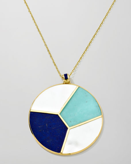 Gold Rock Candy Mosaic Pendant Necklace, 36""