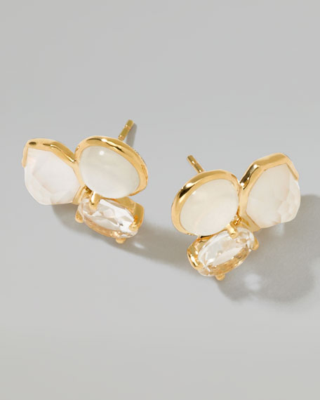 18k Gold Rock Candy Gelato 3-Stone Stud Earrings