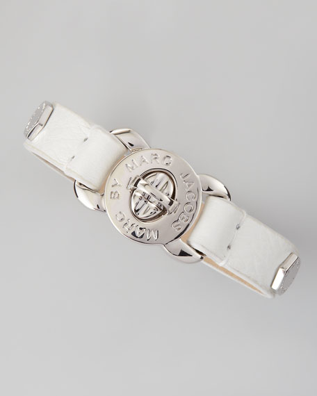 Bolt Studded Leather Bracelet, White