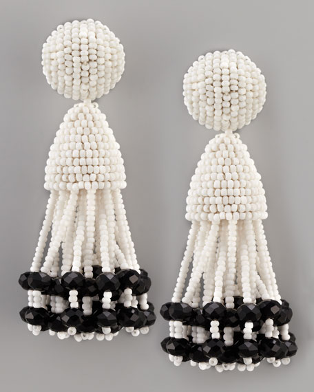Beaded Short Tassel Earrings, White/Black