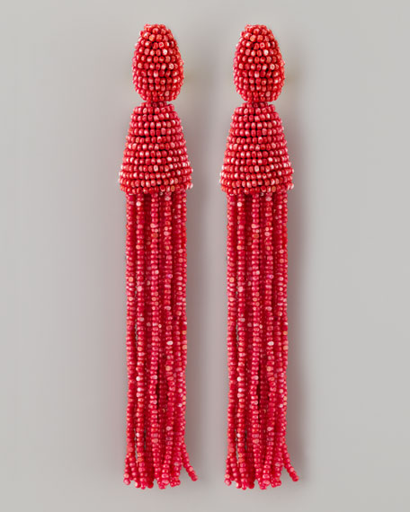 Long Beaded Tassel Earrings, Pink