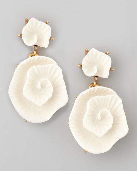 Resin Flower Earrings, Ivory