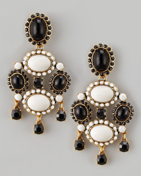 Cabochon Drop Clip Earrings, Black/White