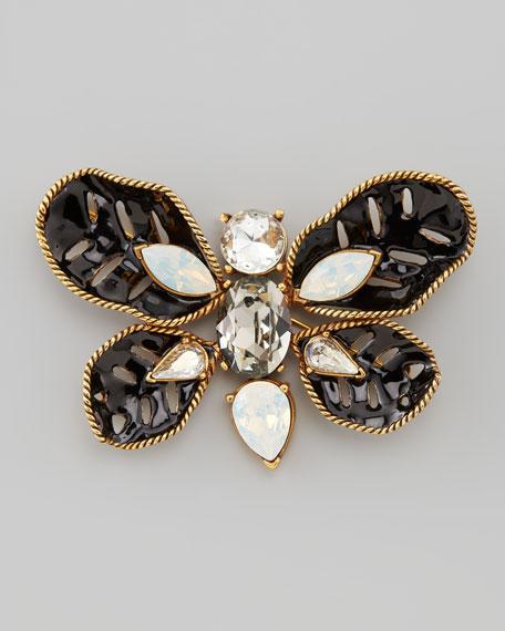 Multi-Stone Butterfly Brooch, Black