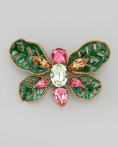 Multi-Stone Butterfly Brooch, Green/Multi